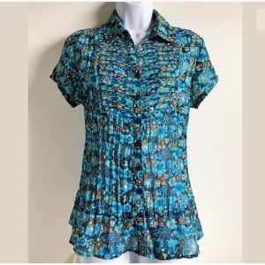 NY Collection Medium Floral Blouse Sheer